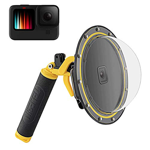 TELESIN - Dome per GoPro Hero 10 9, colore: nero, protezione impermeabile e trasparente per immersioni, con pistol trigger, impugnatura galleggiante per GoPro Hero 10 9, accessori per action camera