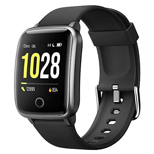 Willful Montre Connectée Homme Smartwatch Montre Sport Podometre Cardiofrequencemètre Montre Intelligente Etanche Chronometre Alarme GPS Partagé 11 Modes Sport pour iOS Android Smartphone Noir