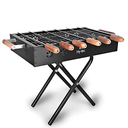 H Hy-tec (Device) HYBB-14 Kriss Cross Barbeque Grill with 6 Skewers (Black)