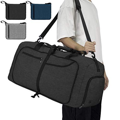 NEWHEY Reisetasche Groß 65L Faltbare Reisetaschen Leichte Sporttasche für männer mit Schuhfach für Weekender Herren Damen Duffel Taschen Schwarz