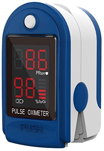 Oxigeno-Healthcare GmbH saturatiemeter   Voor het meten van hartslag en zuurstofsaturatie   Werkt op 2 x AAA batterijen   Inclusief draagband, beschermhoes en batterijen