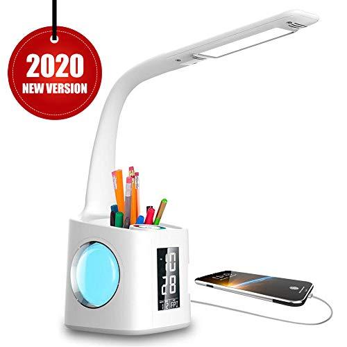 VAZILLIO LED Schreibtischlampe Dimmbar Stifthalter Nachttischlampe mit Schwanenhals, Tischleuchte mit Touchfeld/LCD Display, Augenschutz Leselampe für Farblicht und 3 Helligkeitsstufen, USB-Anschluss