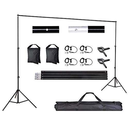 AW 10ft Adjustable Photography Background Support Stand Portable Photo Backdrop Crossbar Kit with Carrying Bag