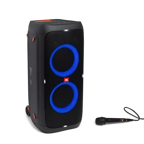 Partybox 310MC – Enceinte Bluetooth portable de karaoké au son puissant avec effets lumineux éblouissants – Prise USB & micro inclus – Autonomie 18hrs – Noir