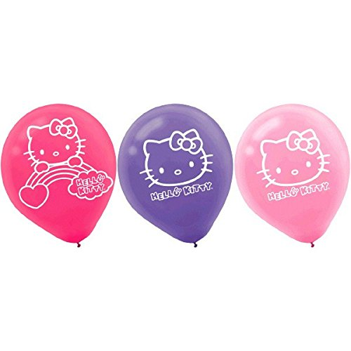Amscan 111417 BLLN LTX HELLO KITTY RAINBOW, 6-Count, Printed Balloons