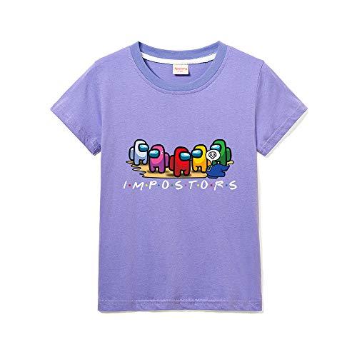 Among Us T-Shirt Bimbo Girocollo Tinta Unita Stampa Bambina Maniche Corte (Purple,11-12 Anni)