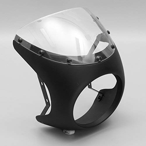Alamor 7Inch Moto Linterna Manillar Carenado Retro Cafe Racer Estilo Universal - Negro Brillante
