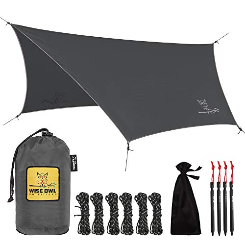 Wise Owl Outfitters Rain Fly Tarp  The WiseFly Premium 11 x 9 ft Waterproof Camping Shelter Canopy  Lightweight Easy Setup for Hammock or Tent Camp Gear  Charcoal Grey & Light Grey