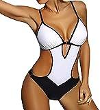 JFAN Maillot de Bain Femme 1 Pieces Sexy String Col V Halter Monokini Plage Bikini Lace Up Imprimé Maillot Une pièce rembourré Push-up Bikini Trikini Beachwear Été,Blanc-L