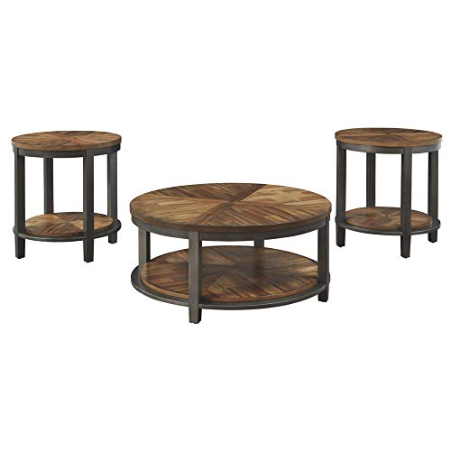 Signature Design by Ashley - Roybeck Occasional Table Set w/ Fixed Shelves - Includes Table & 2 End Tables, Rustic...
