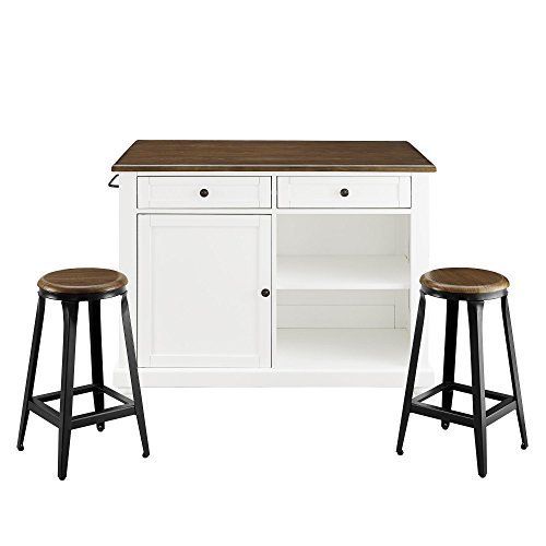 Dorel Living Kelsey Kitchen Island with 2 Stools, White