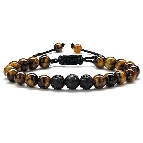Lava Rock Bracelet Mens Gifts - Natural Tiger Eye Black Lava...