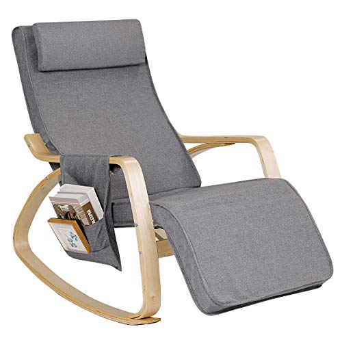 Giantex Comfortable Rocking Chair, Removable Cushion Cover, Side Pocket & Soft Pillow Anti-Slip Mat for Living Room, Bedroom and Indoor, Lounge Chair Relax Chair with Cotton Fabric Cushion, Gray