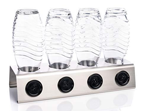 Streambrush Two in ONE Abtropfhalter und Spülmaschineneinsatz aus Edelstahl für z.B. Sodastream Crystal & Emil Flaschen - Flaschenhalter mit praktischer Deckelhalterung | Made in Germany 4X