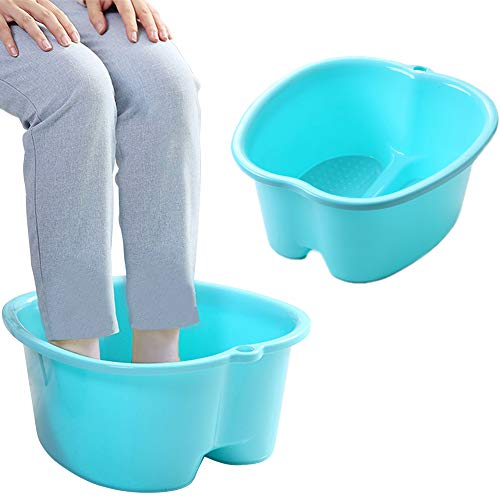 Foot Soaking Bath Basin, Large Size Feet Massager Tub, At Home Spa Pedicure Treatment (FBBlue3)