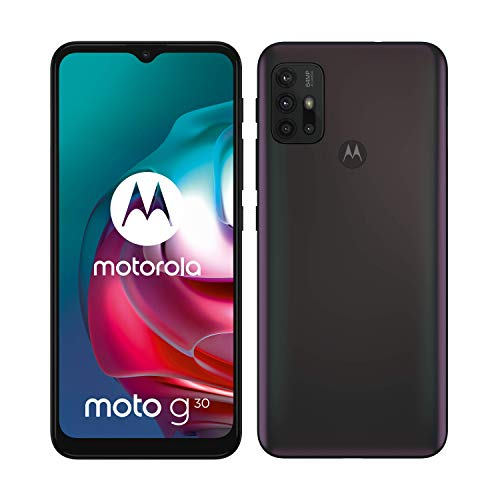 "Motorola moto g30 (6,5""-Display, 64-MP-Kamera, 4/128 GB, 5000 mAh, Dual-SIM, Android 11) Dark Pearl, inkl. Schutzcover [Exklusiv bei Amazon]"