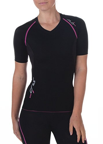 Sub Sports Damen RX Abgestufte Kompressionsshirt Funktionswäsche Base Layer kurzarm, Schwarz/Rosa, XXL