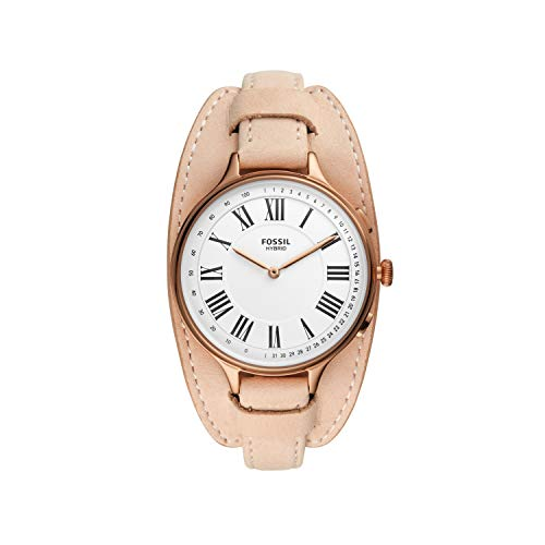 Fossil Women's Eleanor Stainless Steel and Leather Hybrid Smartwatch with Activity Tracking and Smartphone Notifications
