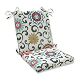 Pillow Perfect 543611 Outdoor Pom Pom Play Peachtini Squared Corners Chair Cushion,Blue,36.5' x 18'