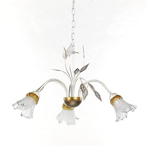 ONLI - Lampadario 3 luci Lancia in metallo bianco spennellato argento con sfumature dorate e calle...