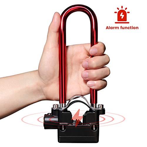 PRUNUS Lightweight Bike U Lock Small Alarm Bike Lock with Mounting Bracket for Road Bike, Mountain Bike, Electric Bike, Folding Bike, BMX Bike(Red)