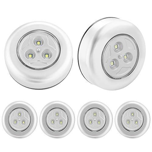 SOAIY 6PZ Luce adesiva a batteria Luci Armadio Luce notturna con 3AAA Batterie Risparmio energetico Leggerissimo per Cucina, Corridoio, Scale, Camere per bambini, Garage, Luce Fredda (Smd-6pz/Set)