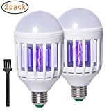 2 Pcak Bug Zapper Light Bulbs, Electronic Insect Killer Fly Killer Lamp, Fits 110V E27 Light Bulb Socket, Suit Outdoor Porch Patio Backyard