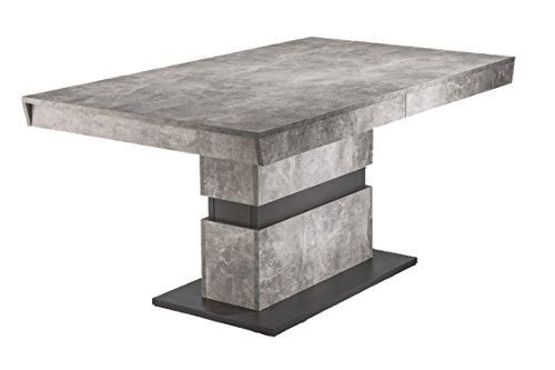 HOMEXPERTS Esszimmertisch MARLEY /Küchen-Tisch 160 cm mit Auszugsfunktion auf 220 cm /Auszugstisch Light Atelier Beton-Optik grau /Esstisch ausziehbar mit Einlegeplatte /160-220 x 90 x 75cm (LxBxH)