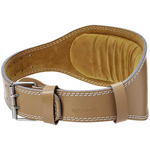AmazonBasics 6 Inch Wide Padded Weight Lifting Belt (X-Large, Tan)