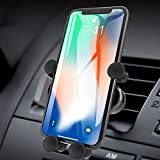 ICHECKEY Support Telephone Voiture Ventilation avec Rotation 360° pour iPhone 11/XR/8/7,Samsung, Huawei P30/Mate 30 Pro, Xiaomi, Smartphone (Noir)
