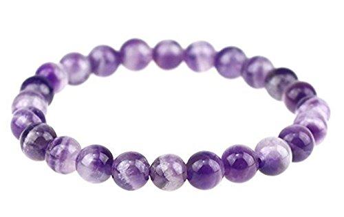 Natural Purple Amethyst Gemstone Beaded Bracelet 7 inch...