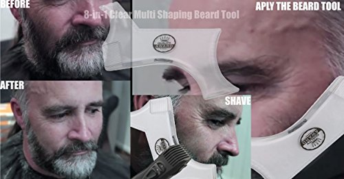 Beard Shaping Tool Template Bonus Comb Barber Tracing Pencil Transparent Trimming Guide Shaving Shaper Compatible With Any Beard Razor Electric Trimmers Clippers Mustache Goatee Sideburns Frenzystyle