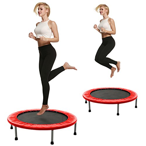 Binxin Rebounder Mini Trampoline Fitness Trampolines Indoor for Adults Kids with Padded Frame Cover, Max Load 220lbs (US Stock) (Red, 38inch - Foldable Twice)