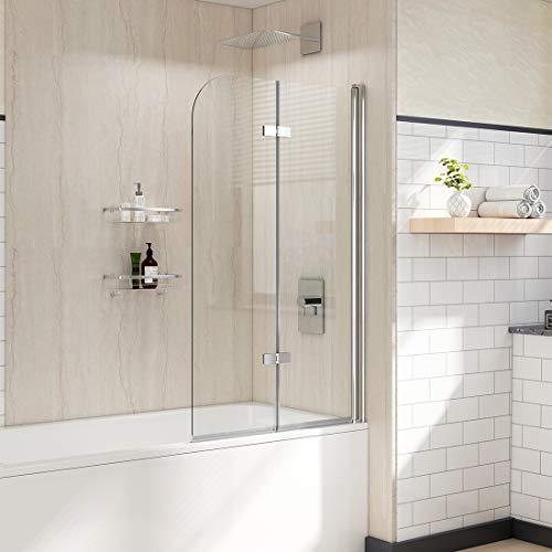 WELMAX Badewannen Duschwand 100 x 140 cm Duschabtrennung Badewannenaufsatz Faltwand Duschtrennwand 6mm Nano ESG Sicherheitsglas