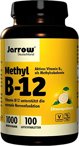 Jarrow Methylcobalamin B12, 1000 mcg, 100 pastillas veganas con sabor a limón (1000 mcg, 100 pastillas veganas con sabor a limón)