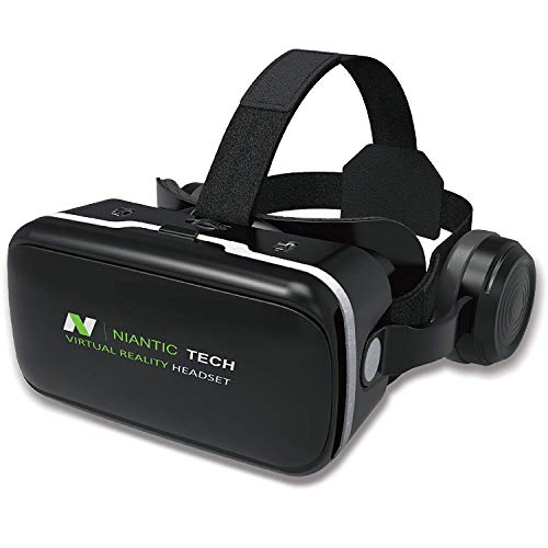 VR Headset for iPhone and Android Phone | VR Goggles | Virtual Reality Headset with Headphones | Niantic Tech NTVR-G04E