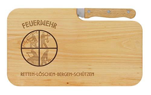 LASERHELD Brotzeitbrett Jausenbrett Holz Erle Messer Feuerwehr retten Bergen löschen schützen...