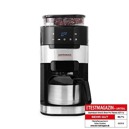 GASTROBACK #42711_S Filterkaffeemaschine Grind & Brew Pro Thermo, integriertes Kegelmahlwerk mit 8 Mahlstufen, Soft-Touch LCD-Display, 1 Liter Thermoskanne