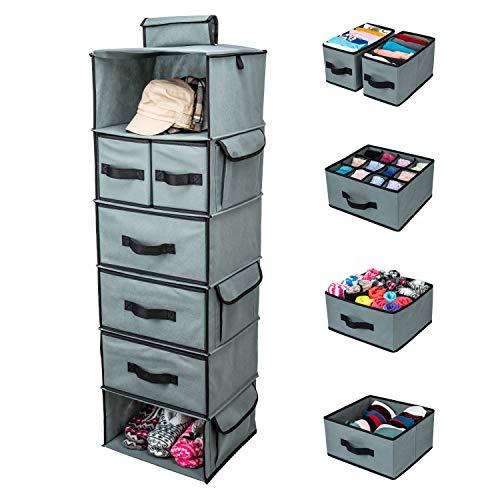 SMIRLY Hanging Closet Organizer Shelves. Grey 6 Shelf Closet...
