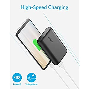 Anker PowerCore 10000 Portable Charger, One of the Smallest and Lightest 10000mAh External Battery, Ultra-Compact High-speed-Charging-Technology Power Bank for iPhone, Samsung Galaxy and More (Black)