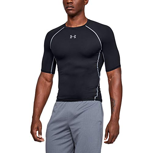 Under Armour Men's HeatGear Armour Short Sleeve Compression T-Shirt , Black (001)/Steel , Medium