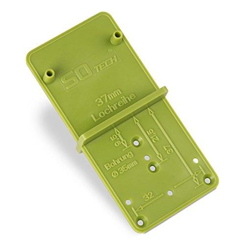 SO-TECH® Bohrlehre EasyGreen Bohrschablone für Topfbohrungen Ø 26 und 35 mm, 32er Lochreihen und Exzenter Verbindungsbeschläge