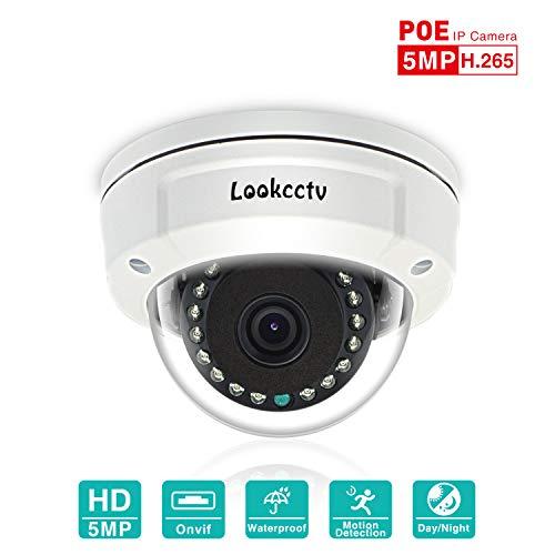 lookcctv Telecamera IP di sicurezza da 5MP,Telecamera dome antivandalo POE da 3,6 mm,Sistema di videosorveglianza domestica di visione notturna per esterno dell'interno,P2P Cloud, Motion Detection