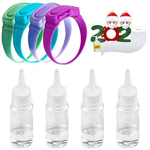 KKPLZZ Dispensador de desinfectante de manos con pulsera ajustable, jabón de manos líquido, dispensador de pulsera de silicona recargable, dispensador portátil, adecuado para la escuela, viajes (4PCS)