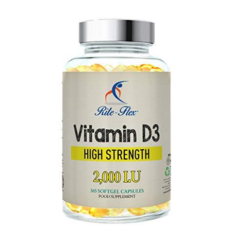 Rite-Flex Vitamin D3 2000IU (50μg) per supporto osseo - sistema congiunto e immunitario | Non-GMO e gluten-free da 2X a 2.000 UI - 365 softgel facili da inghiottire