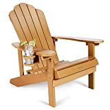 Adirondack Chair Weather Resistant with Cup Holder, SNAN All-Weather Patio Chair for Garden&Outdoor Fire Tables, Fade-Resistant Outdoor Seating, Wood-Like Processing Sturdy Outdoor Chair(Teak)