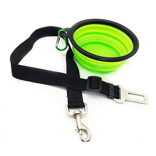 Cinturon de seguridad de Mascotas con evilla para coche Eightnight y Comedero plegable y extensible de Camping