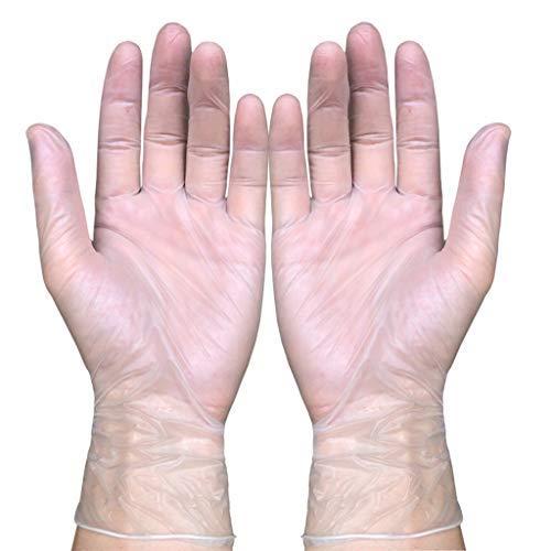 100 Pcs Medical Clear Vinyl Gloves Nitrile Latex Disposable Gloves Mechanic Clear Nitrile Gloves Exam Gloves Latex-free Powder-free, Non-sterile, Small, Medium, Large (M)