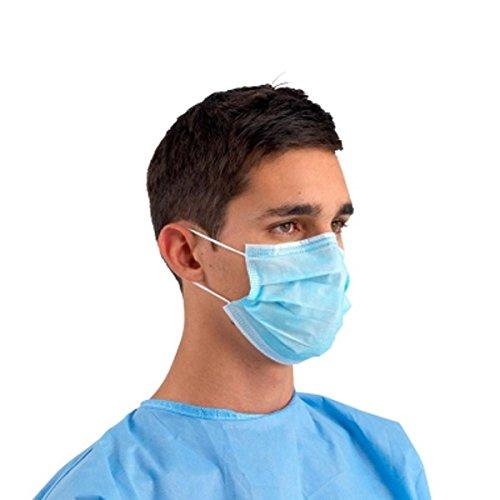 Mascherina chirurgica in polipropilene a 3 strati di colore blu con elastici auricolari - 50 pezzi