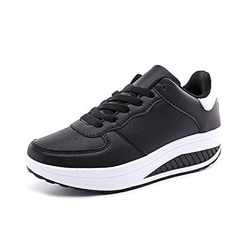 Zapatillas Deportivas Mujer Calzado Deportivo para Adelgazar y Elásticas Zapatos de Plataforma de Cuña de Fitness Zapatos Casuales Zapatillas de Andar Antideslizantes Portátiles Blanco Negro, 39 EU